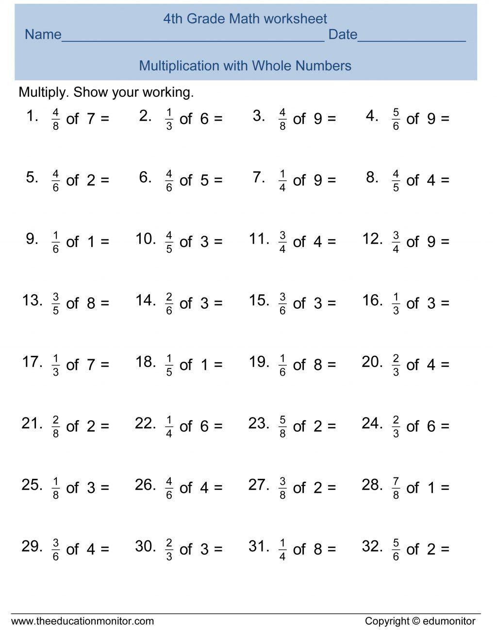 Grade Addition Fractions Worksheet Fraction Worksheets 5th