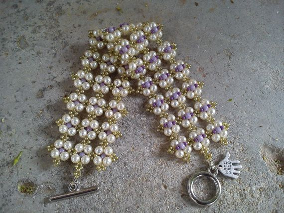 Bracelet, handmade, bracelet with Czech glass seed beads and pearls, white, purple, olive green (141).