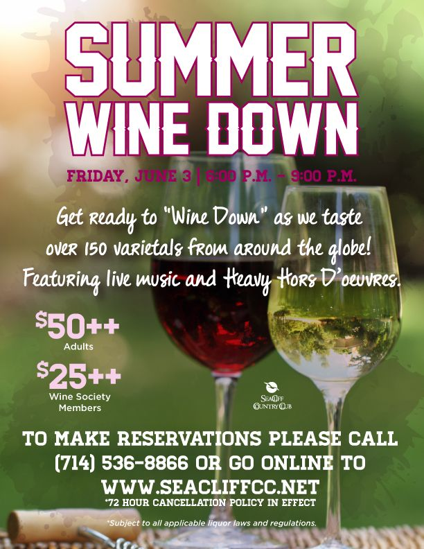 Summer Wine Down Flyer Poster Event Template Wine Dinner Event