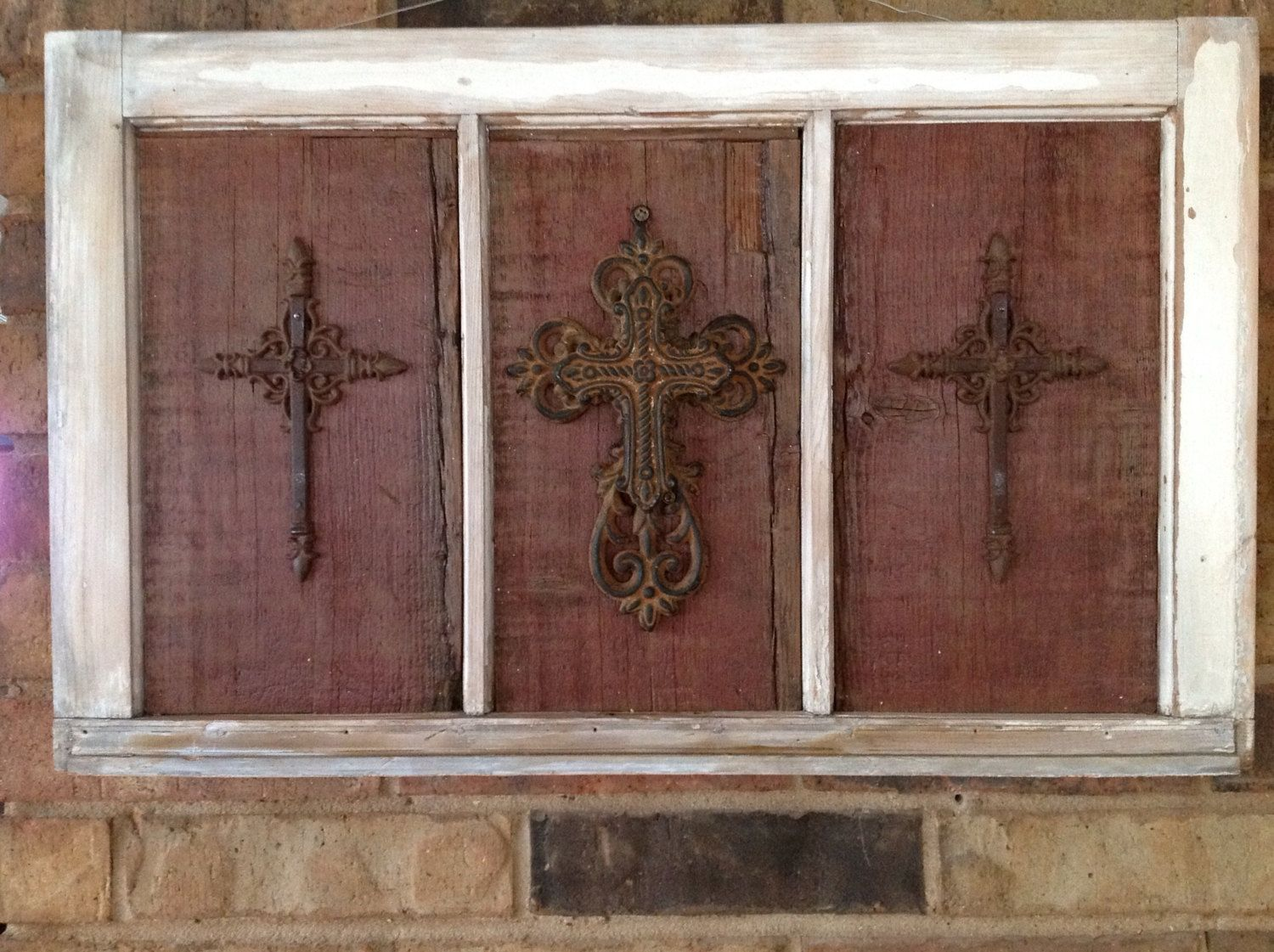Window frame decor with wreath  antique salvaged rustic window with salvaged barnwood and metal