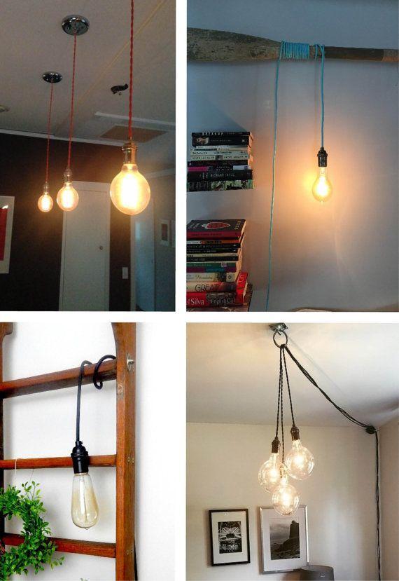 Custom Color Custom Length Hardwired Or Plug In Light Vintage Antique Cord Pendant Lighting Hangout Lighting Minimalist Lamp Plug In Pendant Light Single Pendant Lighting Pendant Light Design