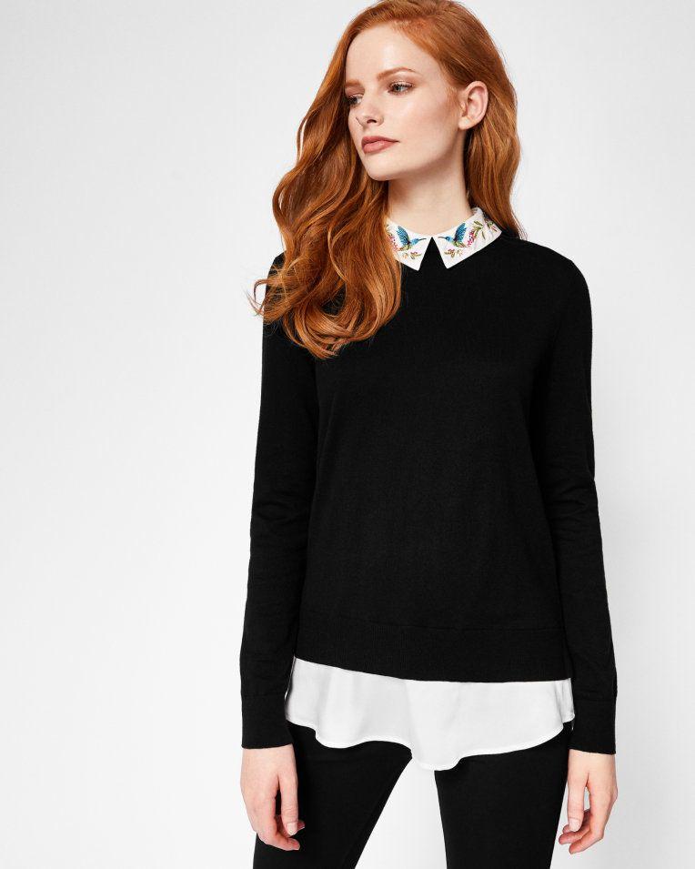 977d6c281efac Highgrove embroidered collar cotton jumper - Black