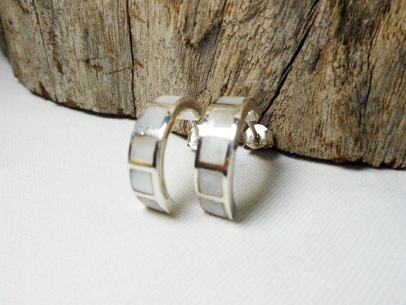 hoop earrings Mother Pearl hand made
