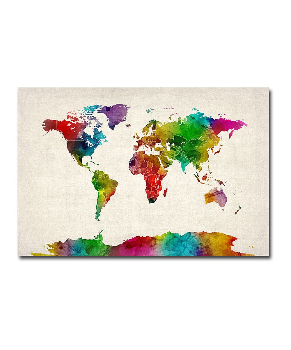 Vibrant watercolor world map gallery wrapped canvas on zulily today vibrant watercolor world map gallery wrapped canvas on zulily today gumiabroncs Image collections