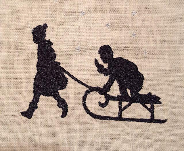 Stickerei Kinder mit Schlitten