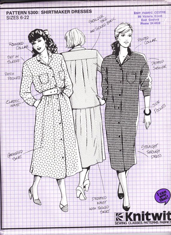 80\'s Sewing Pattern - Knitwit 5300 Shirt Maker Dress Size 6 - 22 ...