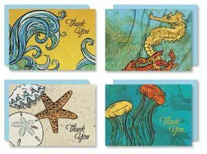 Karen Foster Design Thank You Cards Ocean Escapade by Karen Foster Design. $9.89. 12 Notecards; 3 each of 4 attractive designs. 12 Color coordinated announcement style envelopes. Box measures approximately 5-1/4-Inch by 3-3/4-Inch by 1-inch. Beautifully contained in a clear box with hang tag. Cards measure approximately 3-1/2-Inch by 4.875-Inch. Express your appreciation with these striking thank you cards. Thank you cards come in a clear box with hang tag. 12 ...