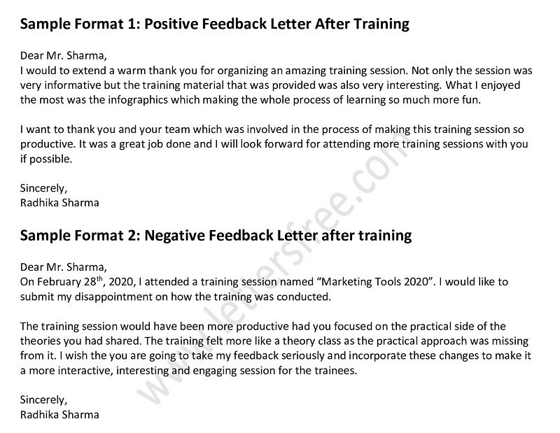 Feedback Letter After Training Session Positive Negative Feedback Lettering Writing Skills Positivity