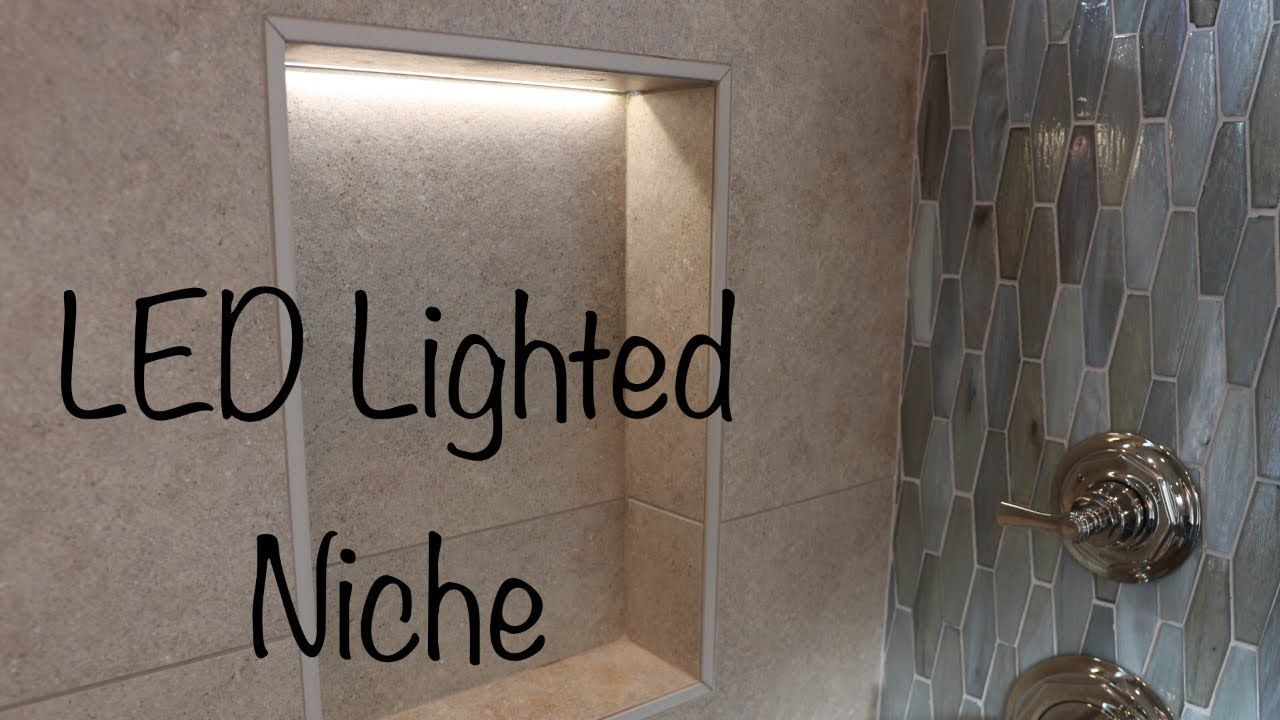 How To Make A Lighted Led Tile Niche Youtube Led Salle De Bain