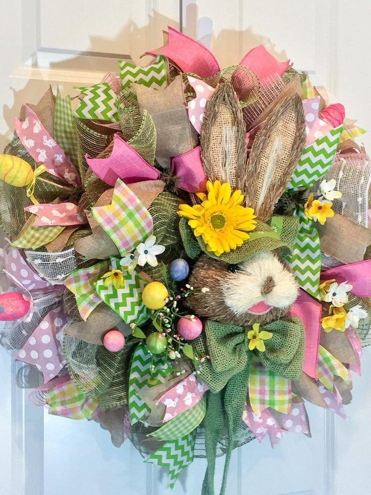 Photo of Easter Bunny Door Wreath, Easter Wreath for Front Door, Bunny Wreath for Front Door, Bunny Door Deco