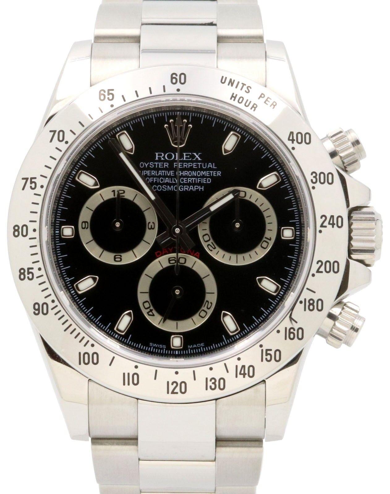 Rolex Daytona 116520 Black Index Stainless Steel Oyster Men S 40mm Box Papers Rolex Rolex Daytona Watch Rolex Daytona
