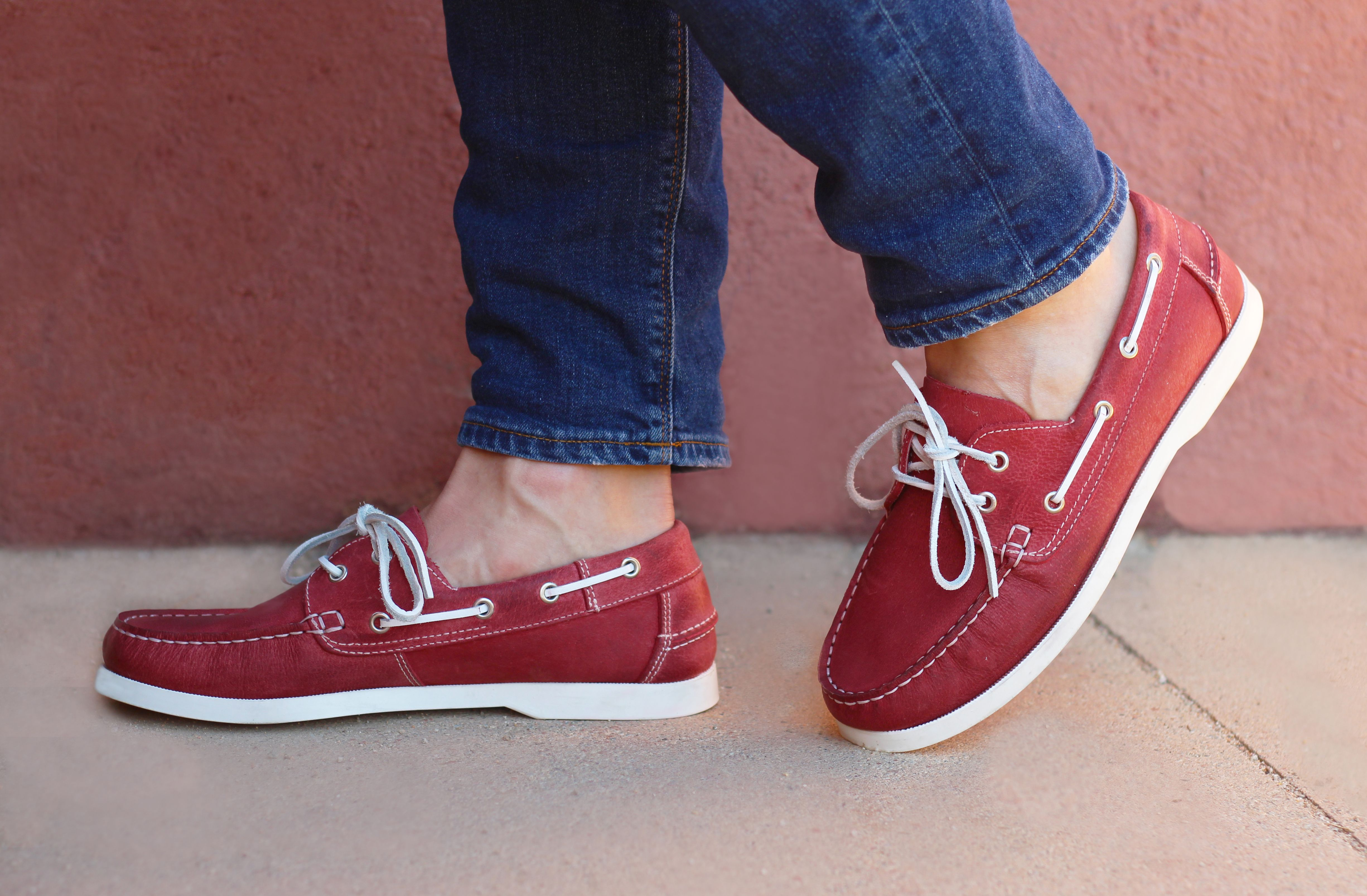 Chaussures bateau homme cuir rouge | Chaussure bateau