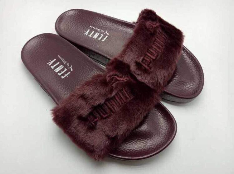 7e7abd26f094 Puma Fenty Fur Slides by Rihanna in burgundy.