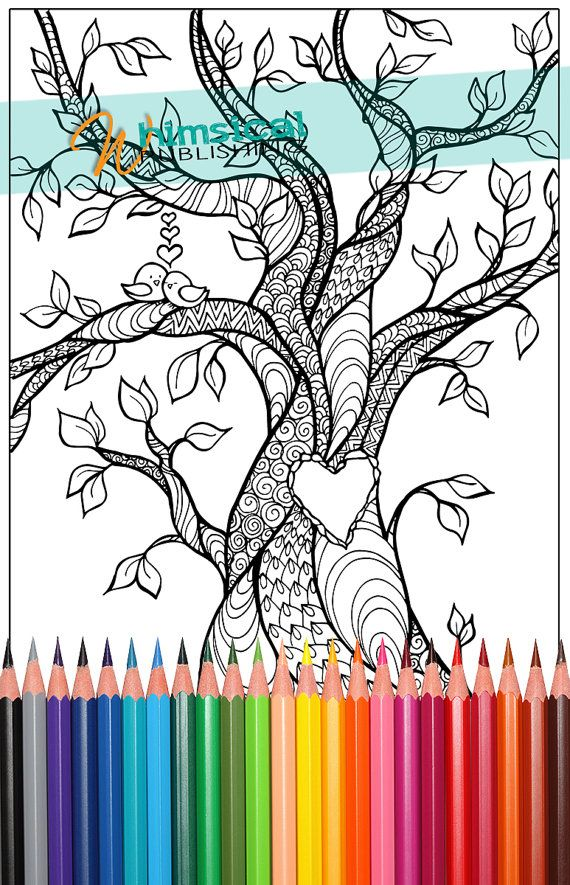 Heart Coloring Pages, trees, tree, tree of love, birds, coloring for - new love heart coloring pages to print