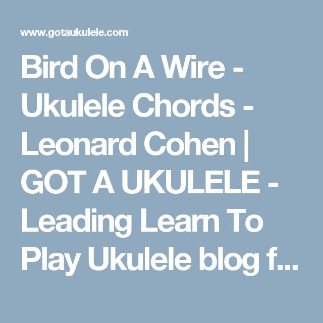 Bird On A Wire Ukulele Chords Leonard Cohen Got A Ukulele