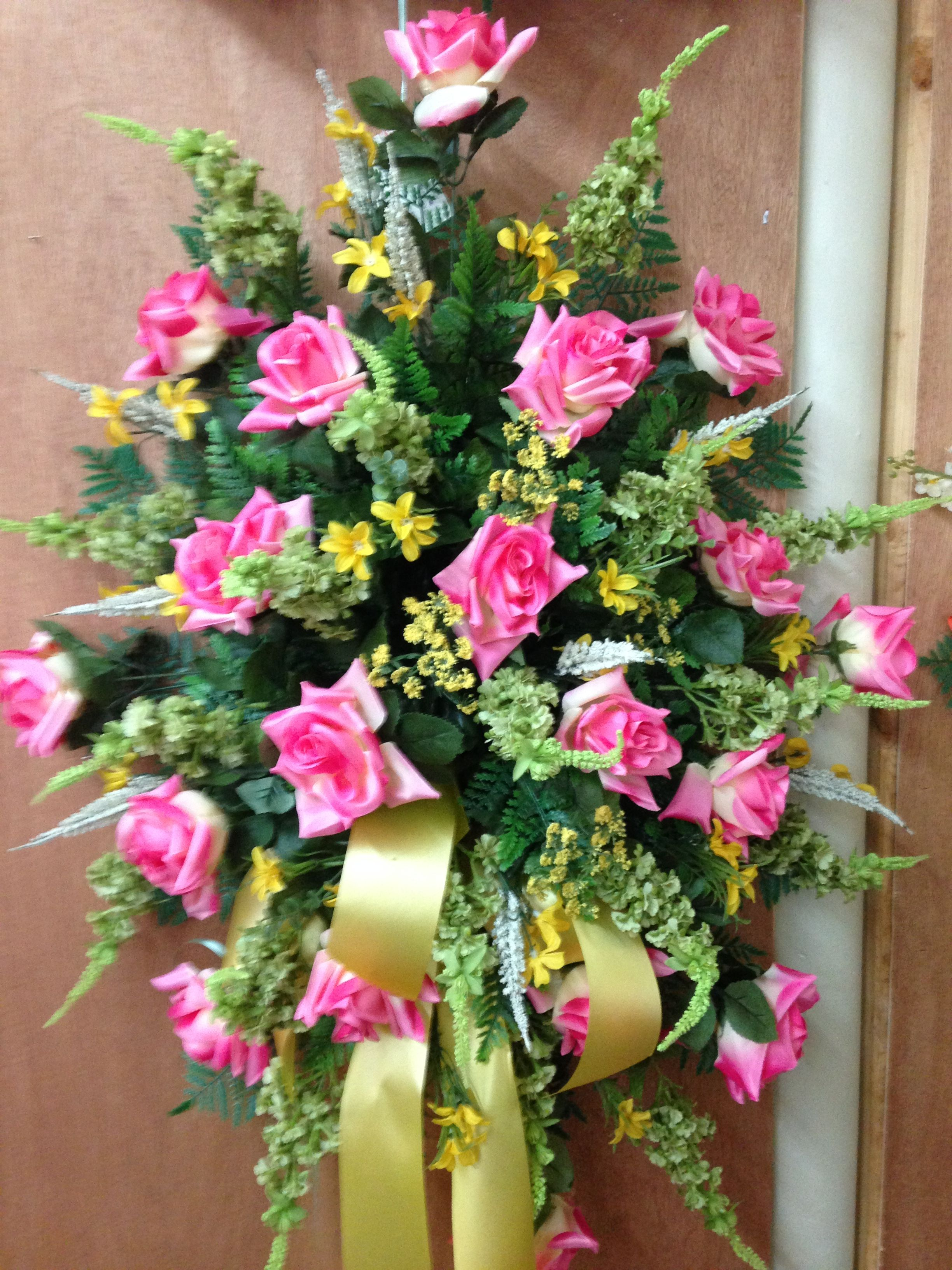 Silk Cemetery Spray Using Pink Roses Lime Green Lobelia Mixed