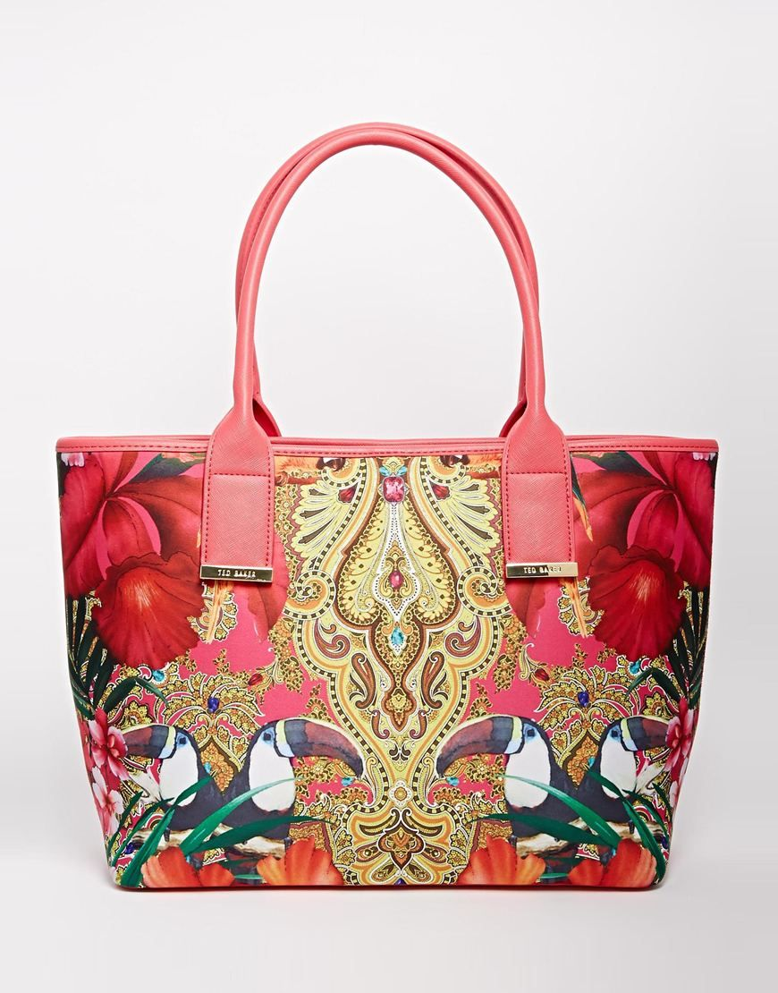 e00a007bfebb Image 1 of Ted Baker Nia Large Printed Neoprene Shopper