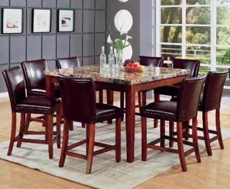 Telegraph Square Marble Counter Height Pub Dining Table Set In Medium Brown By Coaster Furniture By Coas Square Dining Tables Granite Dining Table Dining Table