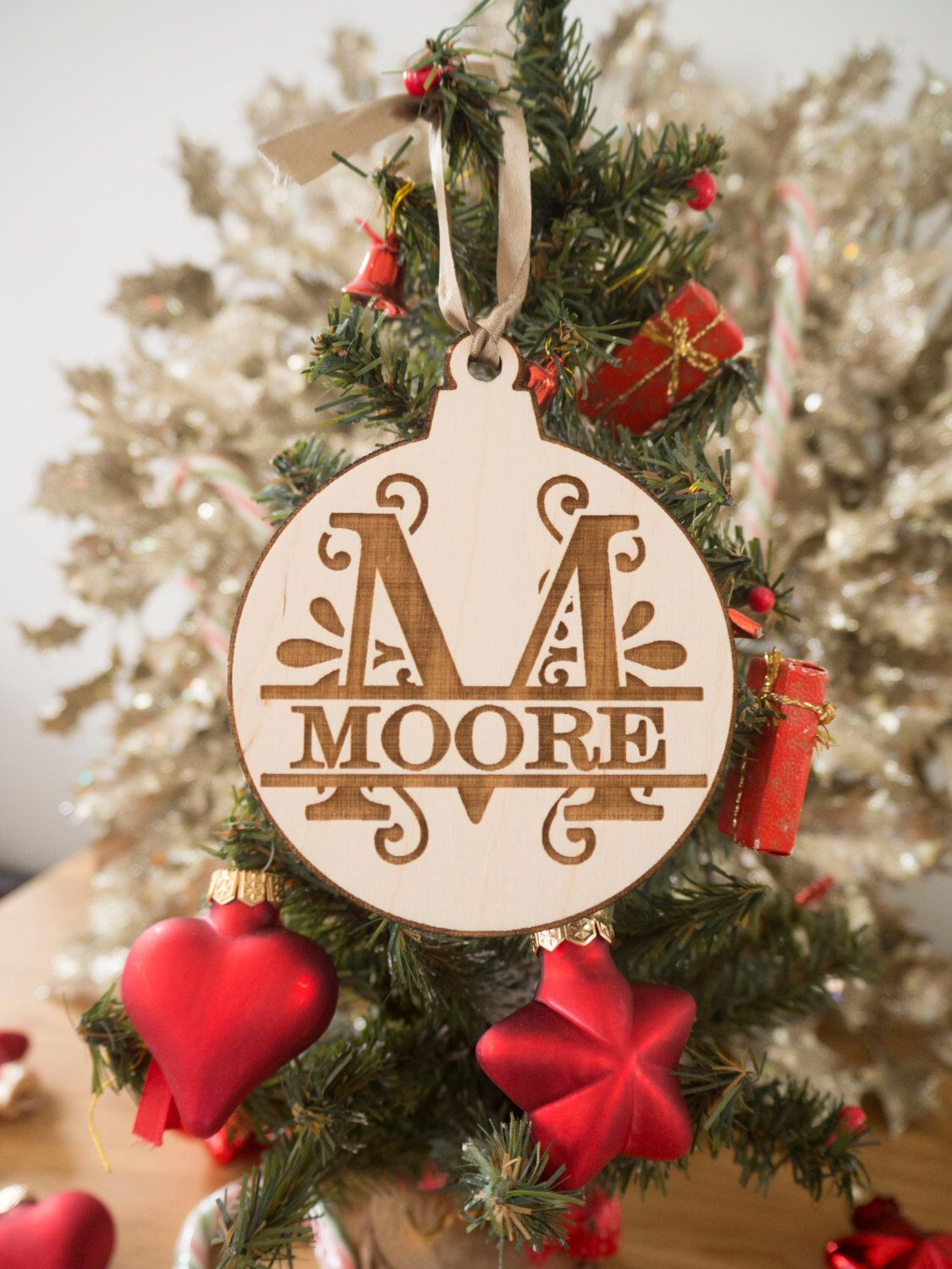 christmas tree ornaments custom family ornament rustic christmas family name ornaments christmas decorations wooden ornaments by epicwooddesigns - Christmas Decorations Names