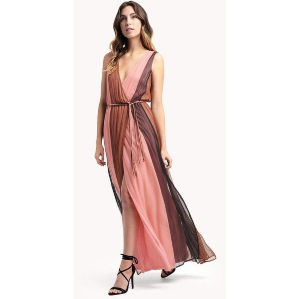 Ella Moss Ophelia Maxi Dress ($278) ❤ liked on Polyvore featuring dresses, pink rose, pink dress, pink maxi dress, red dress, pink wrap dress and color block maxi dress