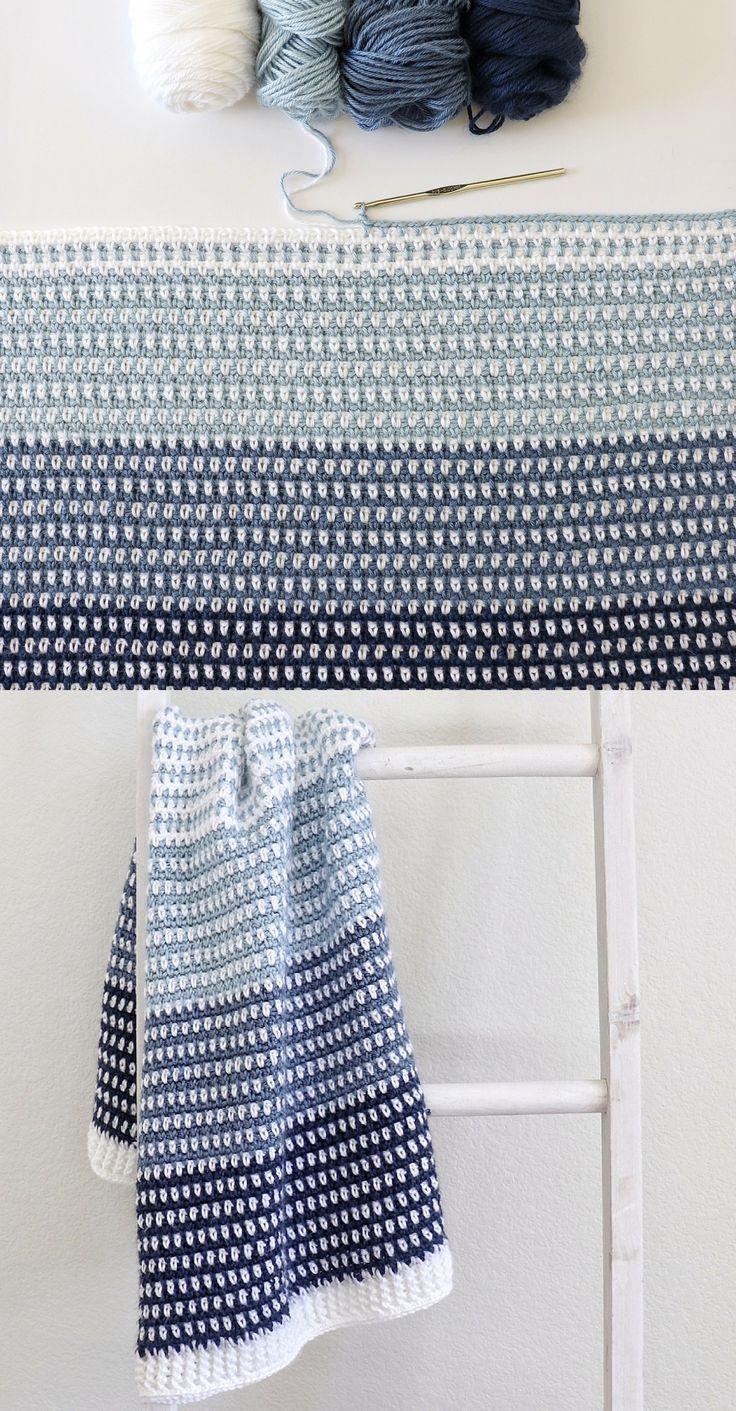 Photo of Kostenlose Anleitung – Crochet Country Blues Baby Blanket