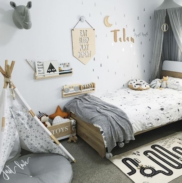 Habitaci n infantil original y moderna en tonos grises y for Habitacion infantil original