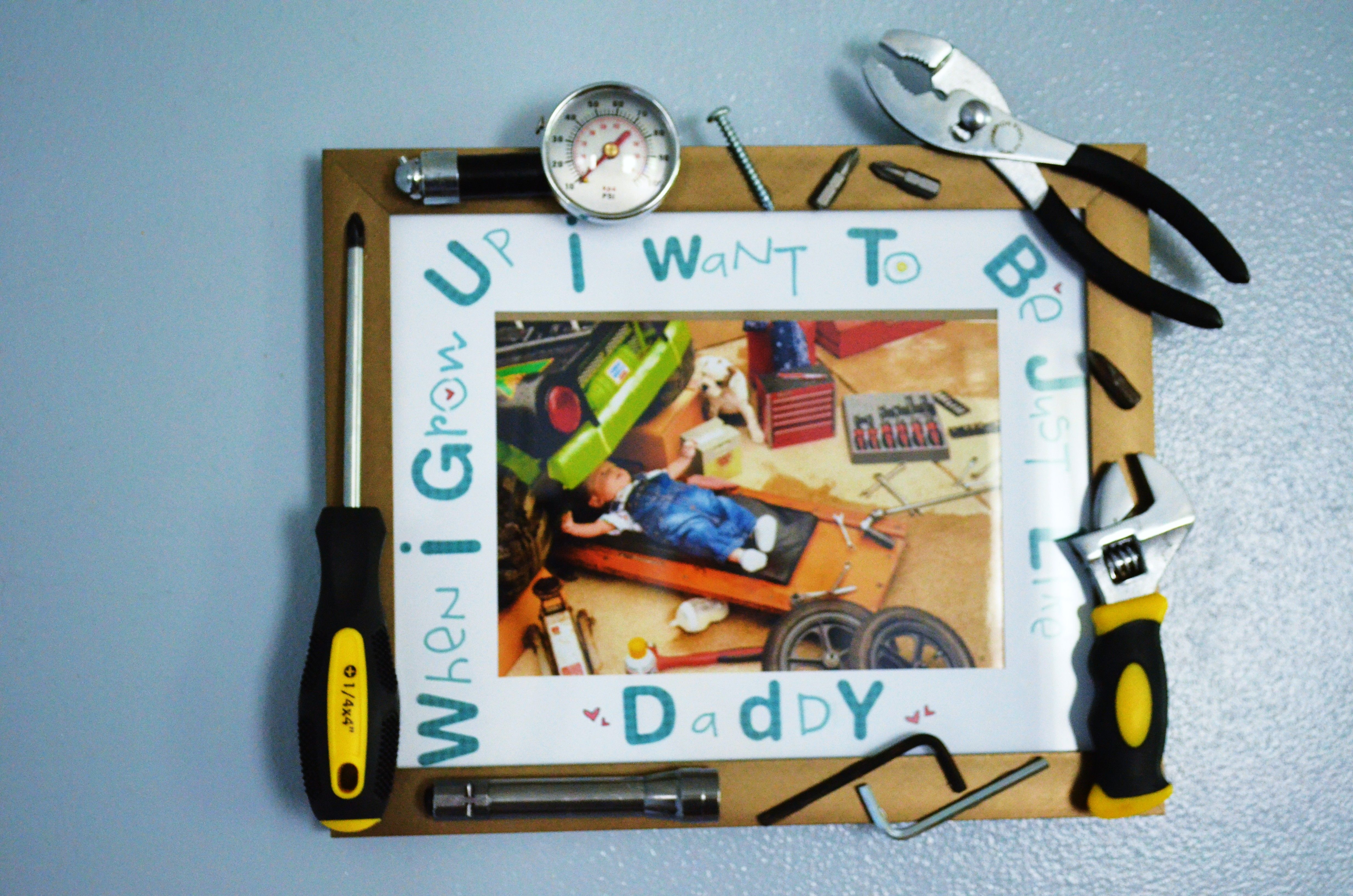 Fathers Day DIY: Baby Mechanic Tool Frame | Pinterest