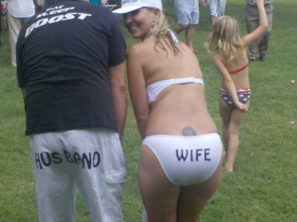 bride & groom bathing suits worn at wedding reception when they ...