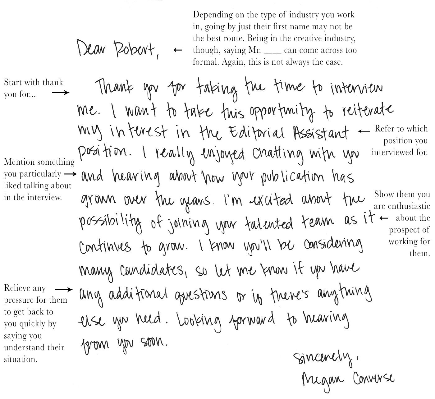 thank you note after interview handwritten letter format notes download for free
