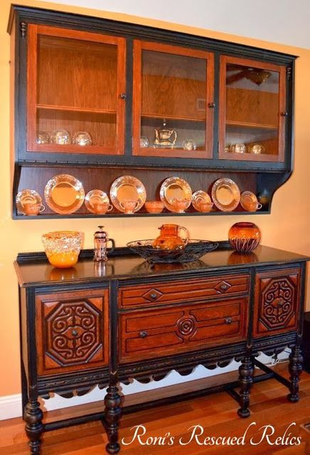 Spectacular Wood And Black Paint Combo Dining Room Set Buffet