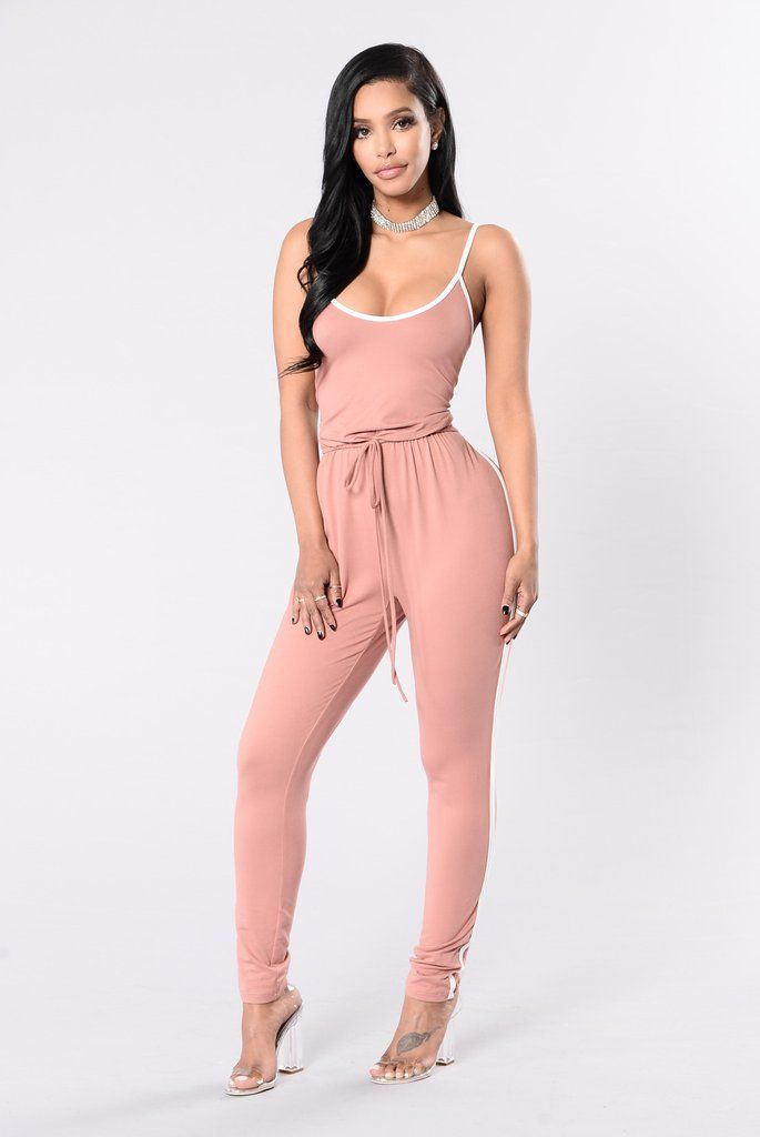 af94d1fc575 Kick Push Jumpsuit - Dusty Rose White