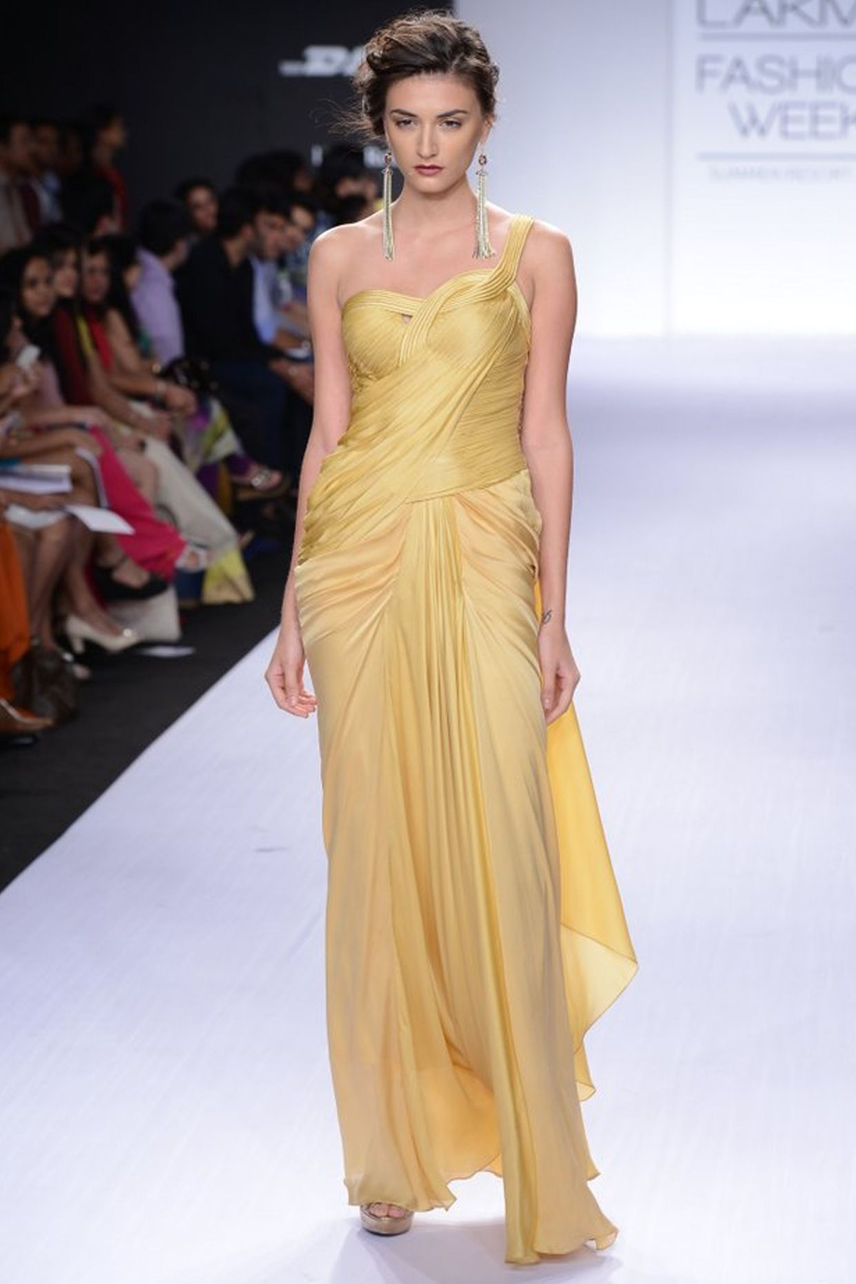 Golden cord sari-gown available only at Pernia\'s Pop-Up Shop.   Desi ...