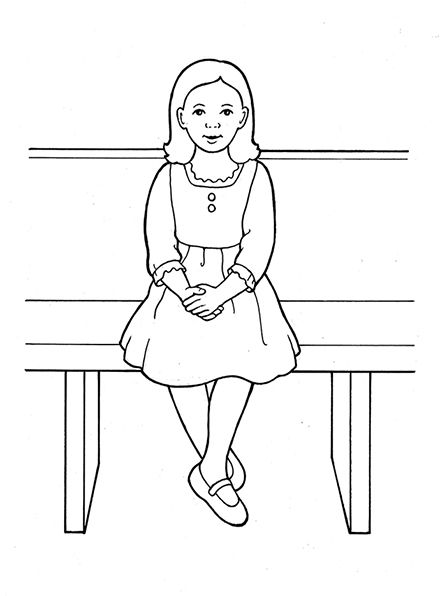 An illustration of a young girl sitting reverently with