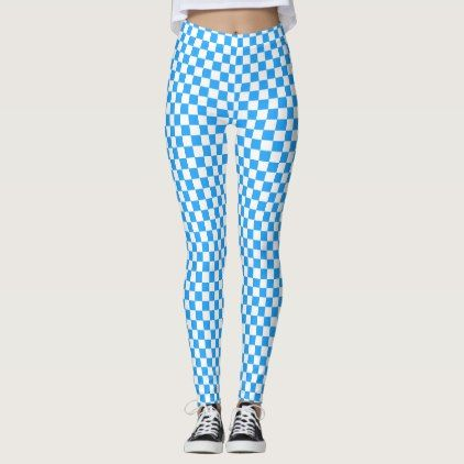 Sky Blue and White Checkerboard Pattern Leggings - patterns pattern ...