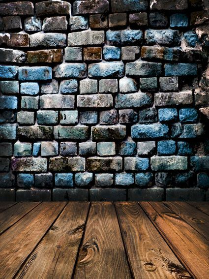 Kate Dark Colored Brick Wall Texture Backdrop Wood Floor for
