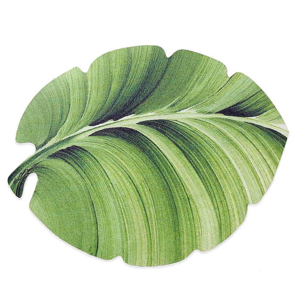 Tropical Leaf Laminated Placemat Green - The beautiful Tropical Leaf Laminated Placemat brings an exotic touch to your table setting. The placemat is spill proof and features a high-impact, non-slip, foam-vinyl back. Wipe to clean.