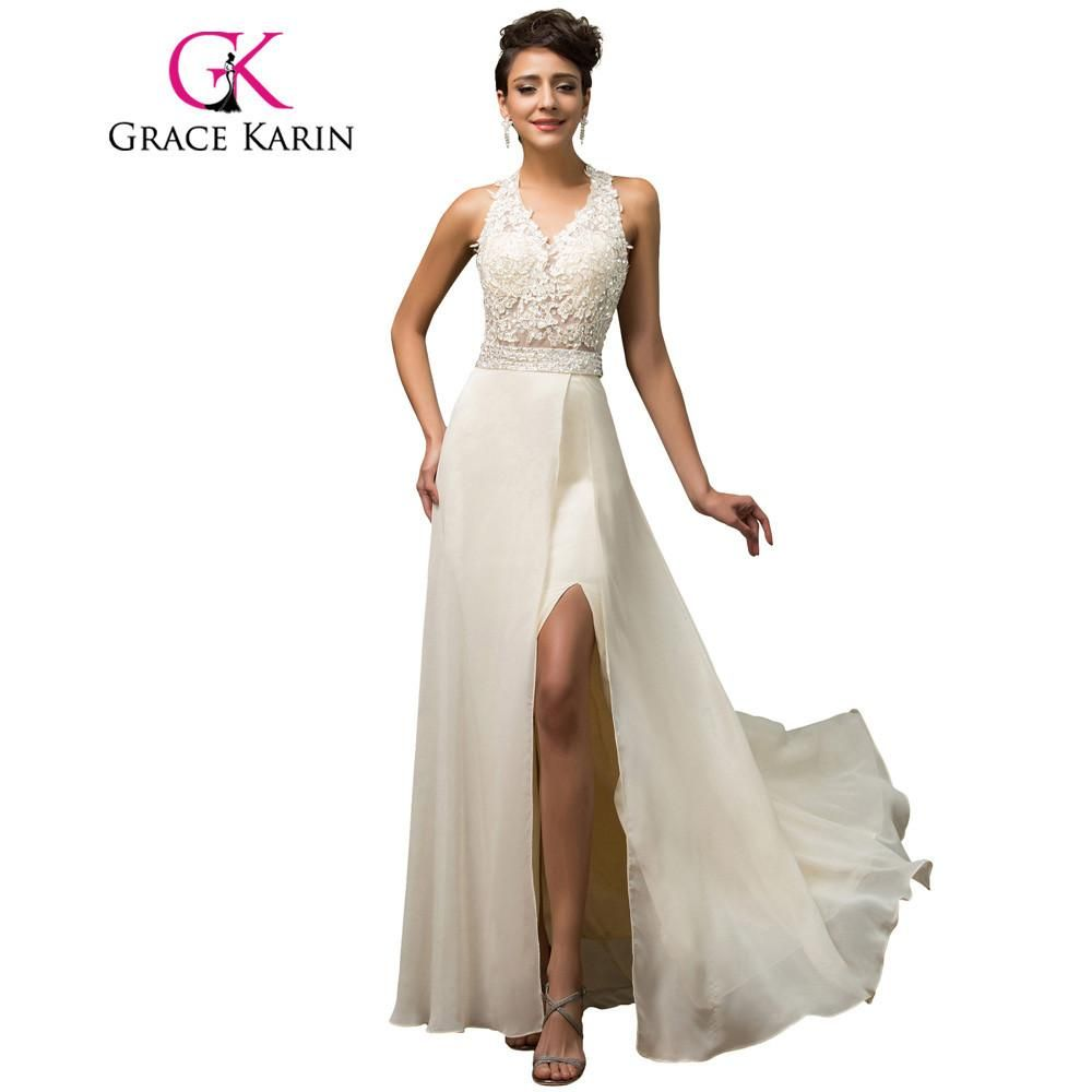 Halter grace karin luxury elegant evening dress open back beige