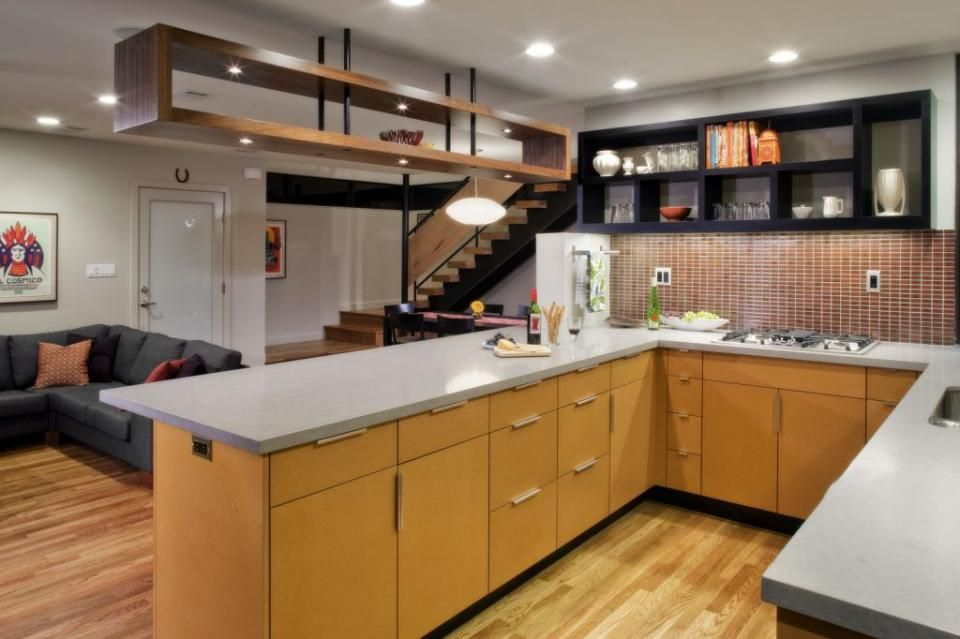 "Maximize Space With Open Shelving Over The Kitchen Island: After: Kitchen, ""Above The Bar"