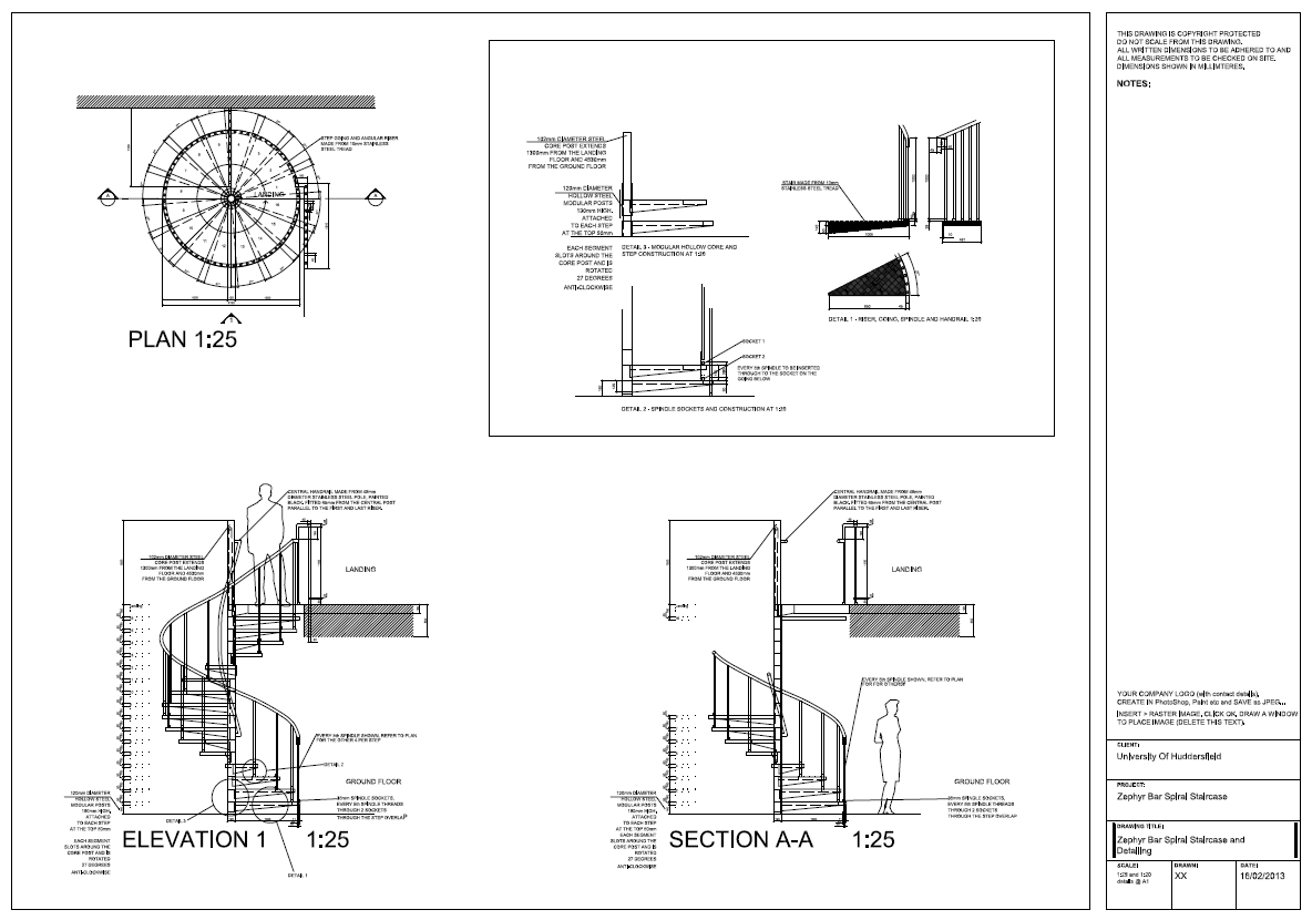 AutoCAD 2012 spiral staircase detail drawings, plan ...