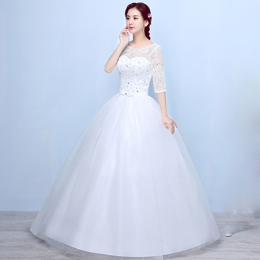White and blue wedding dress   Girls Summer Fashion Ivory White Ball Gown Dress Lace Sleeve