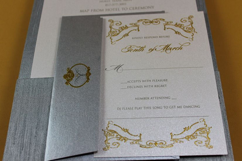 Branding Your Event - Gold and Platinum Luxe Silk Folio Wedding Invitations