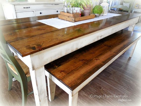 8' Provincial Farmhouse SET / Harvest Table / by MyHarvestHome in charcoal and jacobean