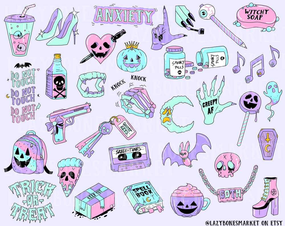 Pastel Goth Clipart Cute Halloween Clipart Printable Etsy Pastel Goth Art Goth Wallpaper Witch Clipart