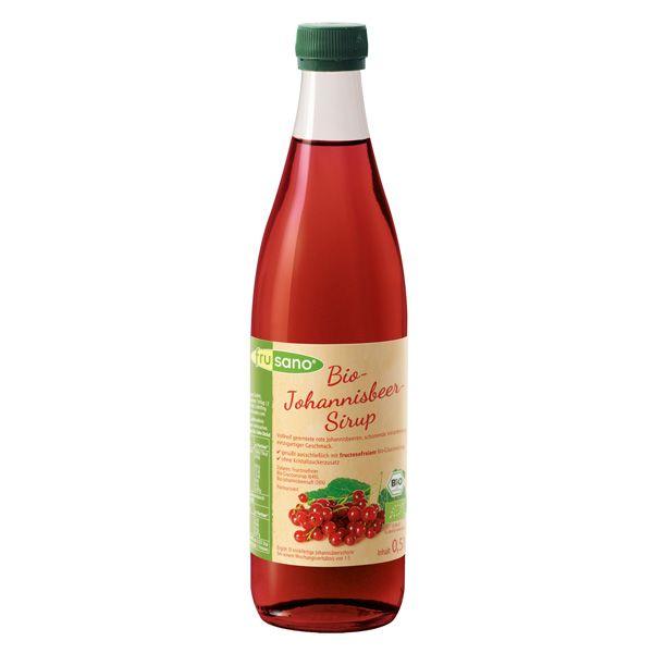 Johannisbeer Sirup - gesüsst ausschliesslich mit fructosefreiem Bio-Glucosesirup, ohne Kristallzucker-Zusatz.