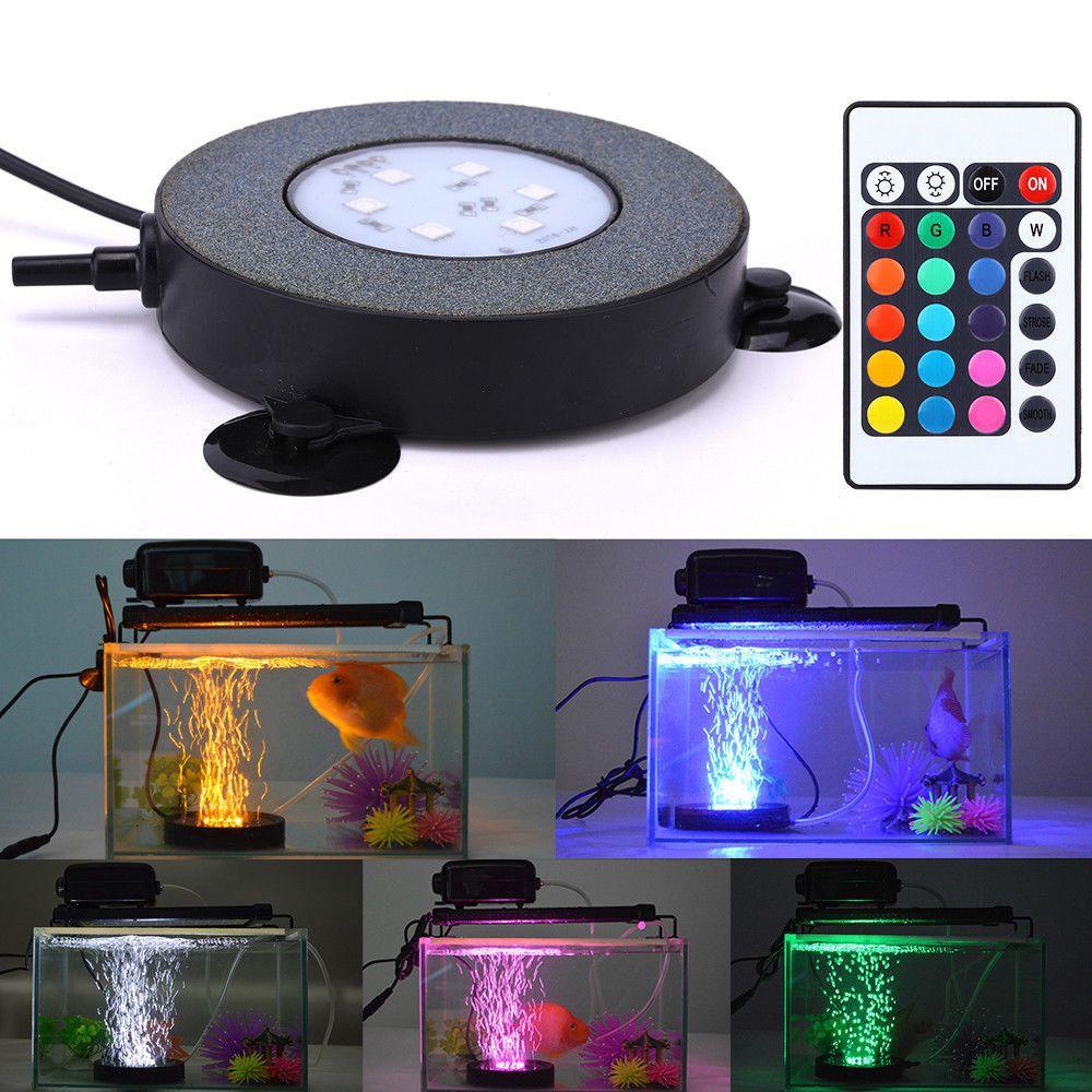 Aquarium Fish Tank RGB LED Bubble Air Stone Light Change