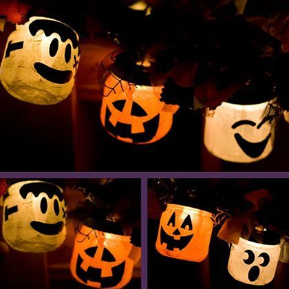 16 DIY Halloween Garlands Spoonful Design  craft ideas - halloween milk jug decorations