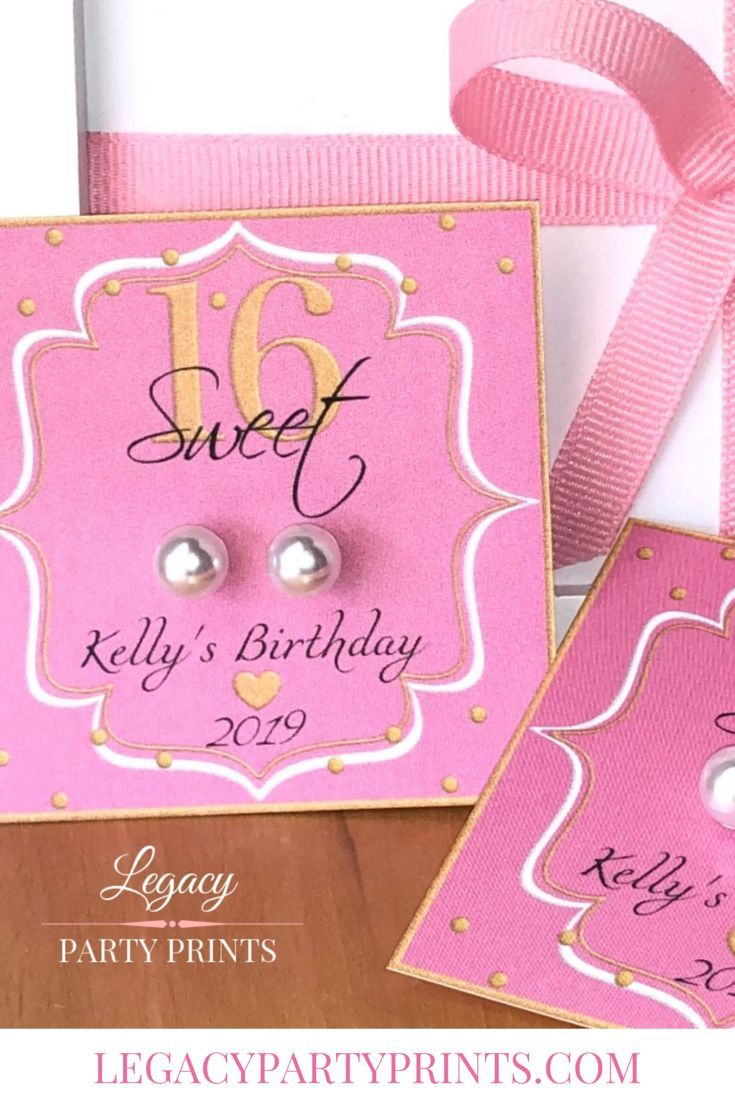 Pink Sweet 16 Birthday Party Favors With White Pearl Earrings #sweet16birthdayparty