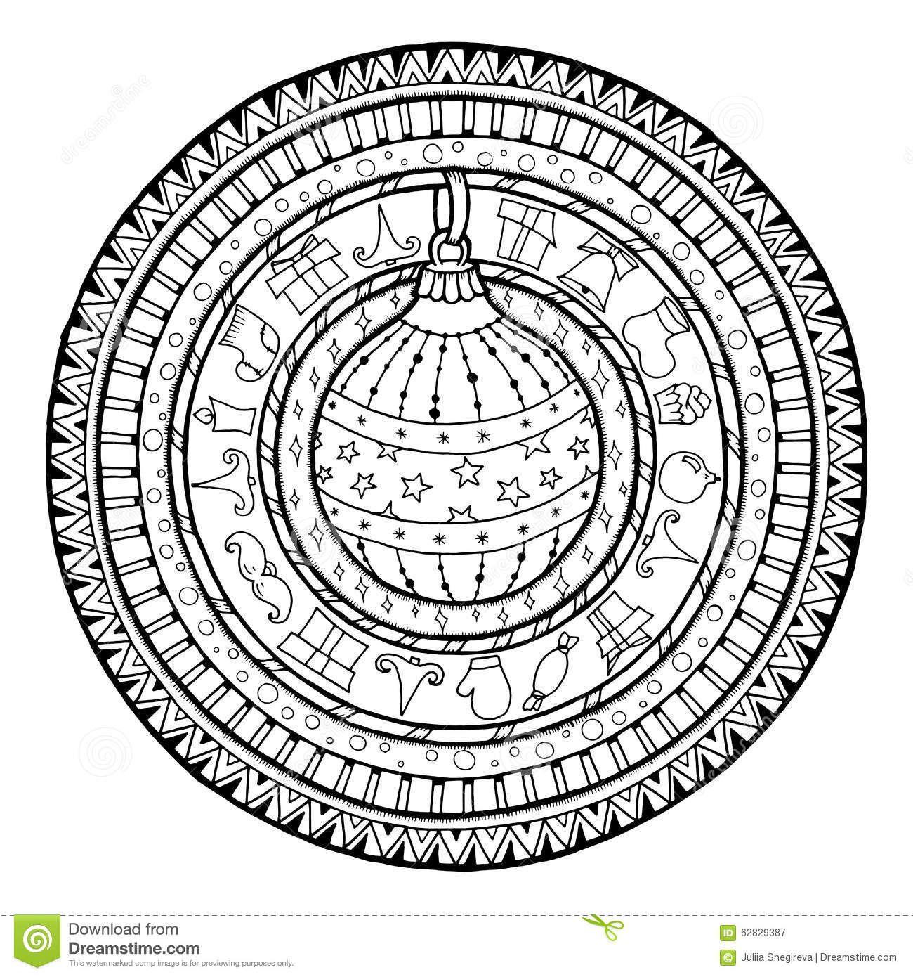 Holiday Mandala Coloring Page Blank