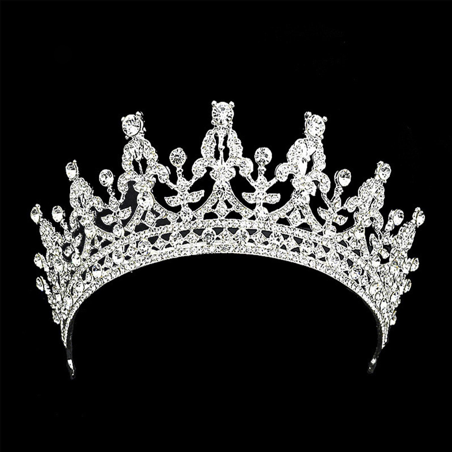 Amazon com rhinestone crystal crown tiara wedding prom queen quinceanera pageant princess headband silver 0 beauty