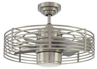 Enclave Satin Nickel Ceiling Fan Contemporary Ceiling Fans By Home Depot With Images Ceiling Fan With Light
